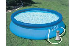 Надувной бассейн с надувным верхним кольцом 366х76см + фильтр-насос Intex 28132