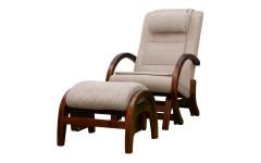 Массажное кресло-качалка EGO TWIST КРЕМ (Рогожка) с пуфом