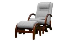 Массажное кресло-качалка EGO TWIST ГРЭЙ (Рогожка) с пуфом